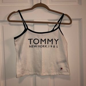 Tommy Hilfiger White Crop Top with Blue Straps.